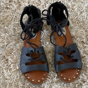 Girls' STEVIES Black Lace Up Sandals - Size 13